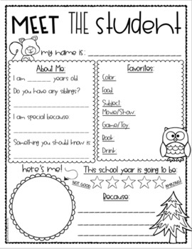 Meet the Teacher Editable Handout Back to School All About Me Woodland Animals