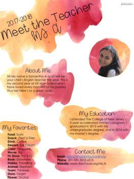 Meet the Teacher: Editable Info Sheet in Maroon/Orange Watercolors