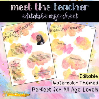 Meet the Teacher: Editable Info Sheet in Pink/Orange Watercolors