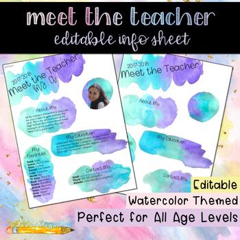 Meet the Teacher: Editable Info Sheet in Purple/Teal Watercolors