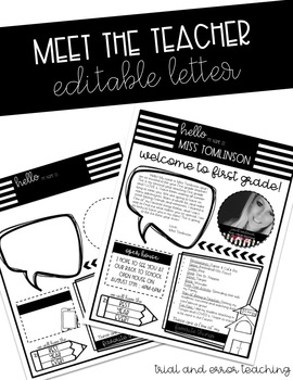 Meet the Teacher Editable Letter
