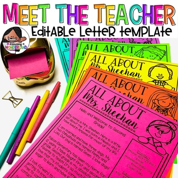 Meet the Teacher Letter (Over 90 Images) | Back To School Template | Editable