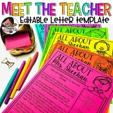 Meet the Teacher Editable Letter Template (Over 90 Image Choices)