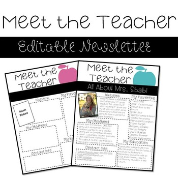 Meet the Teacher- Editable Newsletter