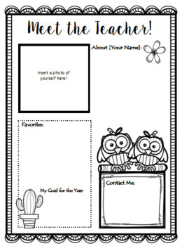 Meet the Teacher - Editable Newsletter