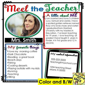 Meet the Teacher Template Editable PACKET Back to School and MORE