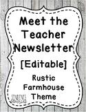 Meet the Teacher Editable Rustic Farmhouse Theme