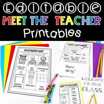 Meet the Teacher Editable Set