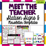 Editable Labels Station Signs | Meet the Teacher | Bright Colors Class Decor