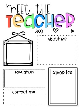 Meet the Teacher- Editable Template