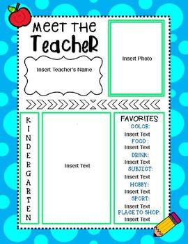 Meet the Teacher- Editable Template