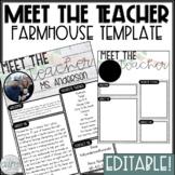 Meet the Teacher Template Editable   Farmhouse Classroom Decor