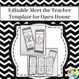 EDITABLE Meet the Teacher Template / Back to School Pamphlet in Black & White