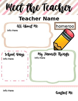 Meet the Teacher- Editable Templates