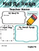 Meet the Teacher- Editable Templates