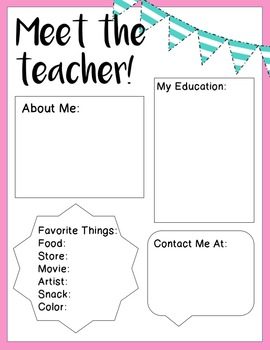 Meet the Teacher - Editable Templates