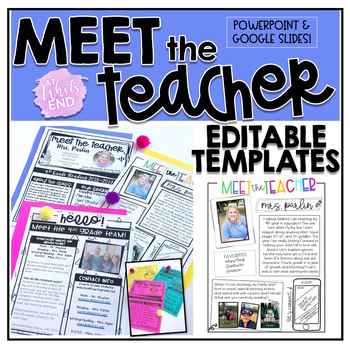Meet the Teacher Editable Templates