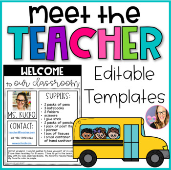 meet the teacher editable template teaching resources teachers pay