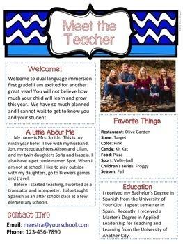 Meet the Teacher - Editable and Bilingual