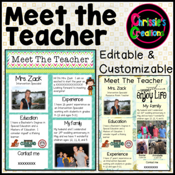 Meet the Teacher Editable and Customizable