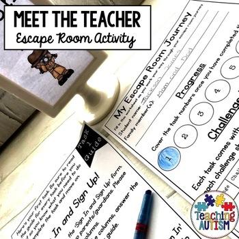 Meet the Teacher, Escape Room Activity - Editable