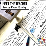 Meet the Teacher Escape Room Activity Editable