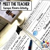 Meet the Teacher Escape Room Activity Editable