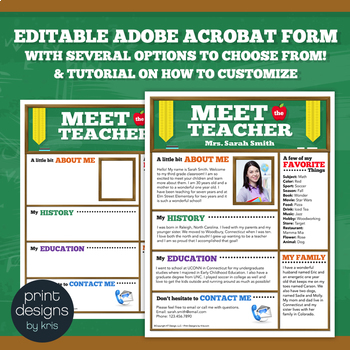 Meet the Teacher Flyer, Newsletter or Brochure. Fully Editable with Tutorial