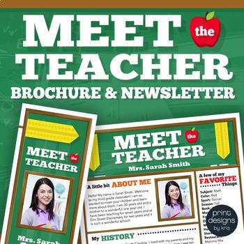 meet the teacher template newsletter flyer brochure color bw - Meet The Teacher Brochure Template