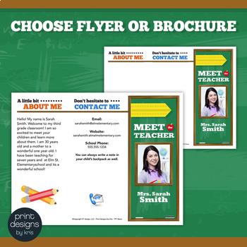 Meet the Teacher Template Newsletter, Flyer, Brochure - Color & B&W