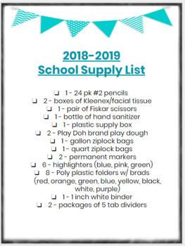 Meet the Teacher Flyer with School Supply List