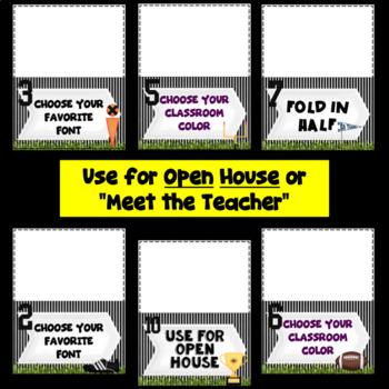 Meet the Teacher Station Signs~ Football Theme~Editable