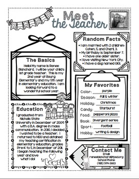 Meet the Teacher Form EDITABLE