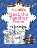 Meet the Teacher Form EDITABLE