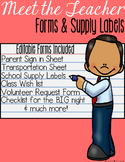 Meet the Teacher: Forms & Supply Labels {Editable}