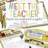 MEET THE TEACHER TEMPLATE EDITABLE BACK TO SCHOOL OPEN HOUSE NIGHT MATERIALS