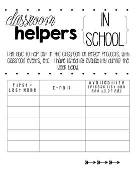 Meet the Teacher Forms and Signs