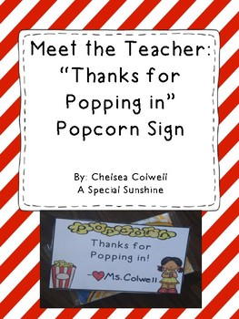 Meet the Teacher Gift: Thanks for Popping in