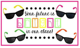 Meet the Teacher Goodie bag tag, sunglasses, Your Future is Bright