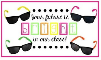 Meet the Teacher Goodie bag tag, sunglasses, Your Future i