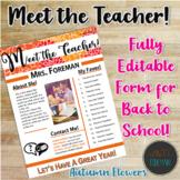 Meet the Teacher Handout | Back to School | Template | EDITABLE! | Autumn Flower