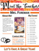 Meet the Teacher Handout | Back to School | Template | EDITABLE! | Autumn Flower