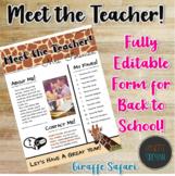 Meet the Teacher Handout | Back to School | Template | EDI