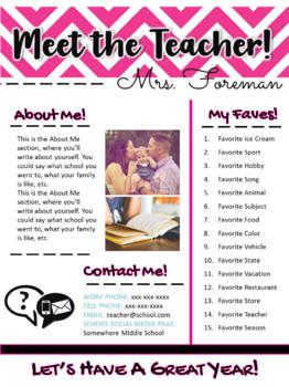 Meet the Teacher Handout | Back to School | Template | EDITABLE! | Pink Chevron