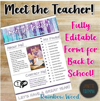 Meet the Teacher Handout | Back to School | Template | EDITABLE! | Rainbow Wood