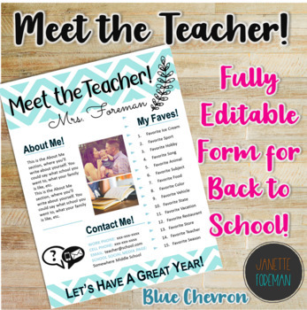 Meet the Teacher Handout | Back to School | Template | EDITABLE! | Blue Chevron
