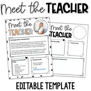 Meet the Teacher Handout - EDITABLE