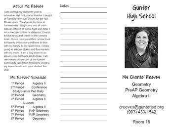 Meet the Teacher Handout or Syllabus