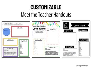 Meet the Teacher Handouts