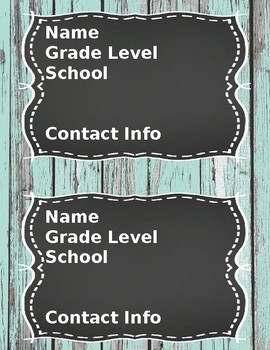 Meet the Teacher Handouts and Contact Cards- Chalkboard Theme